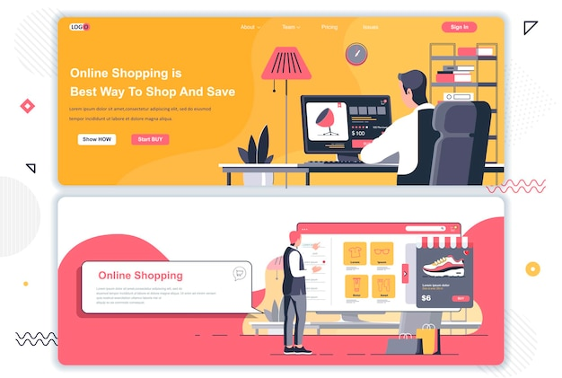Online shopping landing pages
