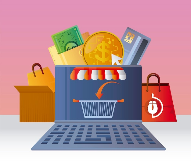 Интернет-магазины, корзина для ноутбуков, продажи электронной коммерции, иллюстрация цифрового рынка