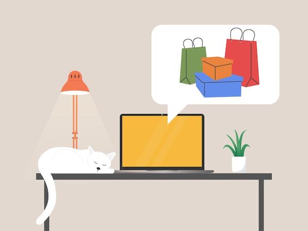 Online shopping on laptop screen illustration