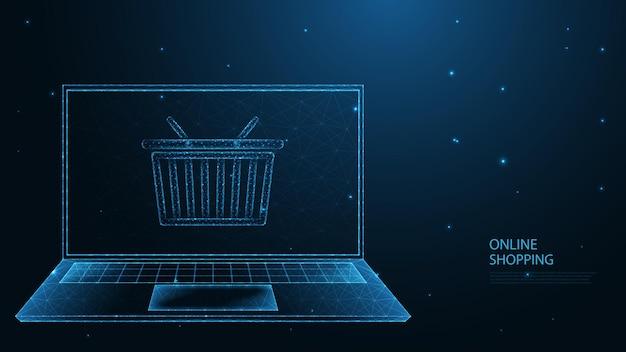 オンラインショッピング。ラップトップ、ショッピングカートライン接続。低ポリワイヤーフレームデザイン。抽象的な幾何学的な背景。ベクトルイラスト。