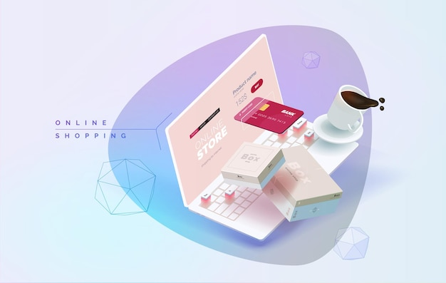 Online shopping laptop on a table 3d illustration