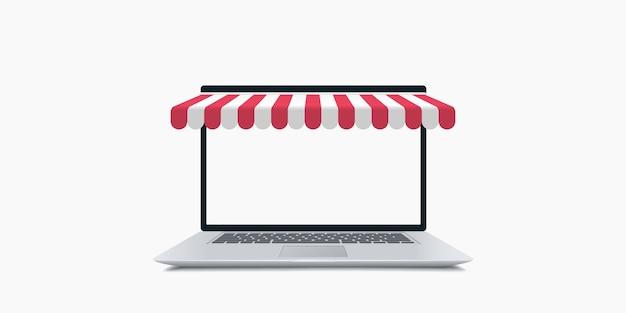 オンラインショッピング。日除けのイラストが付いているラップトップ