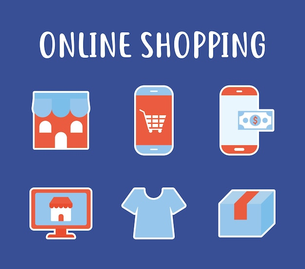 Online shopping lettering and set of online shopping icons