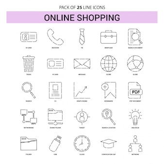Online shopping line icon set - 25 dashed outline style