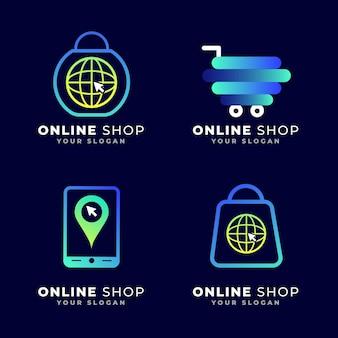 Online shopping logo template ecommerce logo design