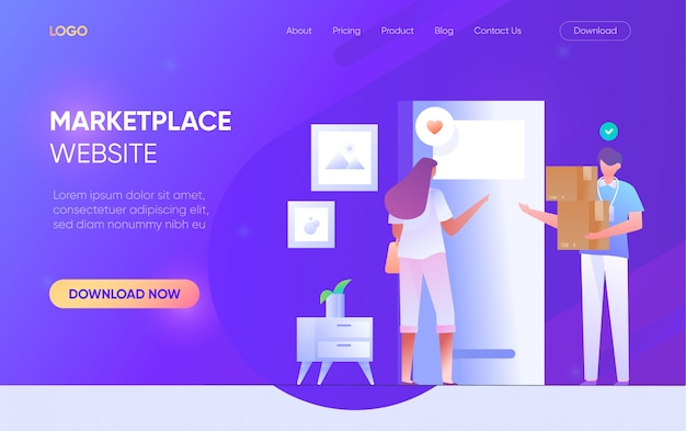 Online shopping marketplace people man woman character landing page website