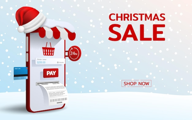 Online shopping in merry christmas theme with santa hat, 3d perspective vector design. trading online by credit card, fast, safe and provide convenience to customers who use the service.