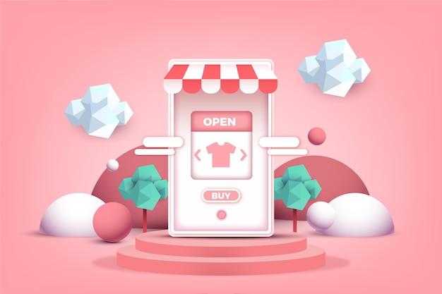 3d 효과의 온라인 쇼핑 모바일 앱 개념
