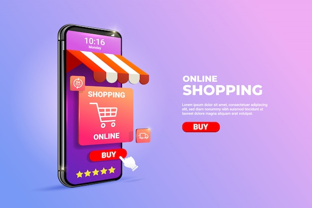 Online shopping on mobile applications or websites concepts.