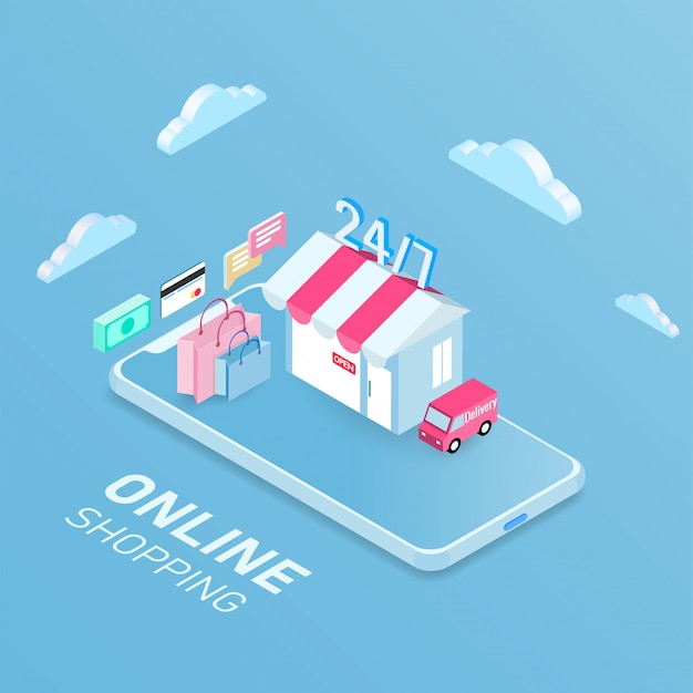 Online shopping mobile concept
