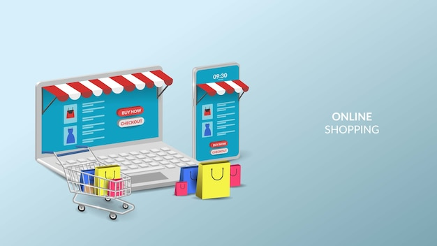 Online shopping on mobile and laptop 3d illustration for web or mobile app