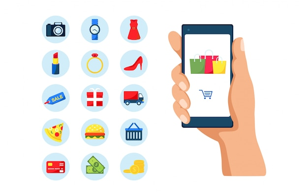 Online shopping on mobile phone application objects set.