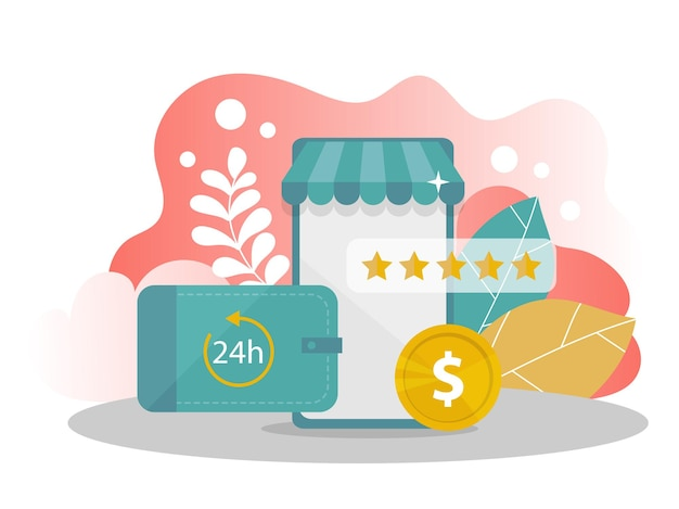 Online shopping. mobile phone with money, rating stars on modern background. internet store. modern flat design concept of web page design for website and mobile website. vector illustration.