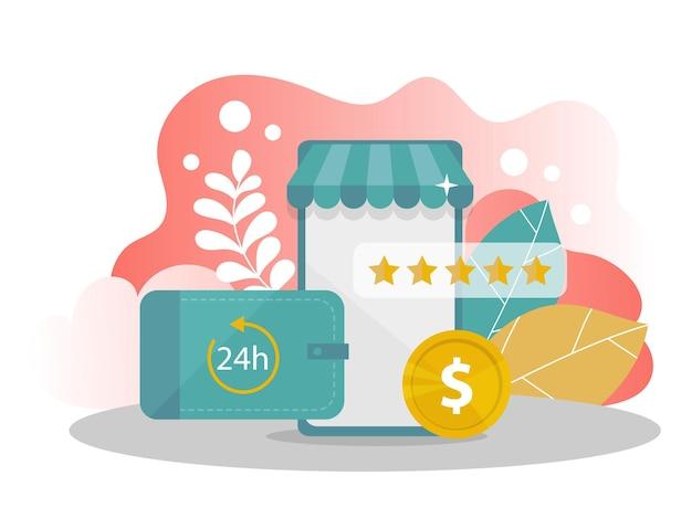 オンラインショッピング。お金のある携帯電話、現代の背景に星を評価します。インターネットストア。ウェブサイトとモバイルウェブサイトのためのウェブページデザインのモダンなフラットデザインコンセプト。ベクトルイラスト。
