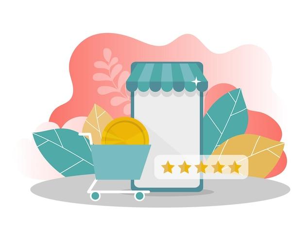 Онлайн покупки. мобильный телефон с деньгами, рейтинг звезд на современном фоне. интернет-магазин. современная плоская концепция дизайна веб-страницы для веб-сайтов и мобильных веб-сайтов. векторные иллюстрации.