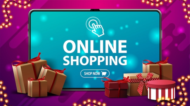 Online shopping, modern banner with a large volume tablet with presents boxes around on pink background