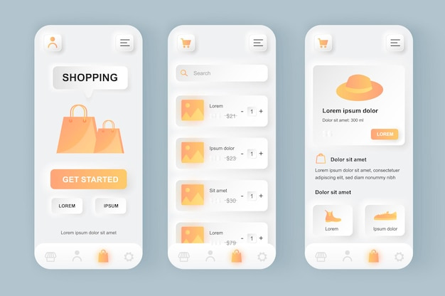 온라인 쇼핑 현대 뉴 모픽 디자인 ui 모바일 앱