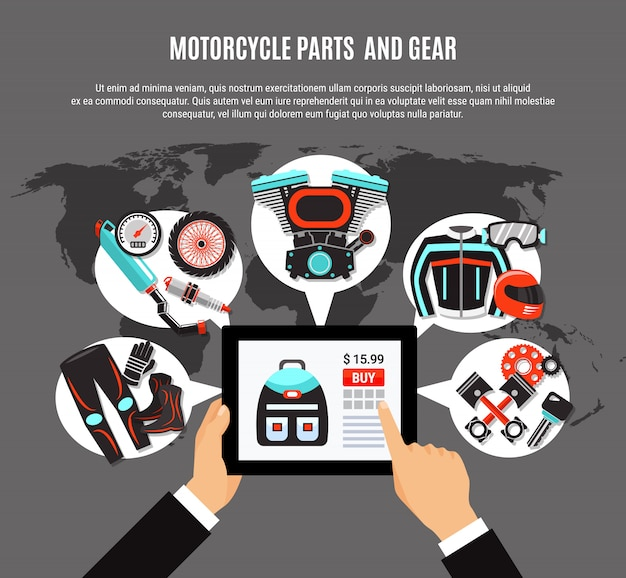 Online shopping of motorcycle parts