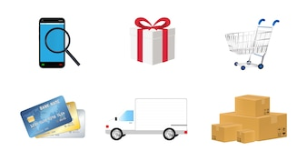 Online shopping object icon set