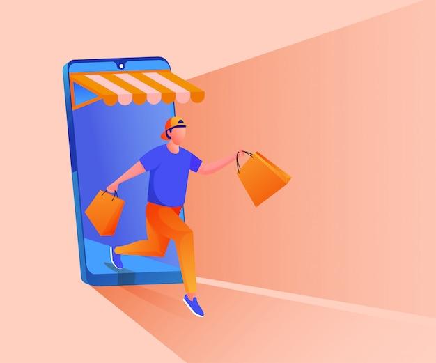 모바일 애플리케이션 일러스트레이션에서 온라인 쇼핑 프리미엄 벡터
