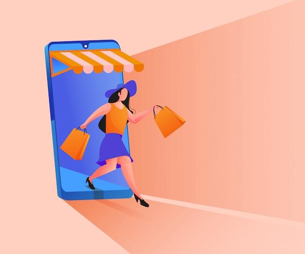 모바일 애플리케이션 일러스트레이션에서 온라인 쇼핑