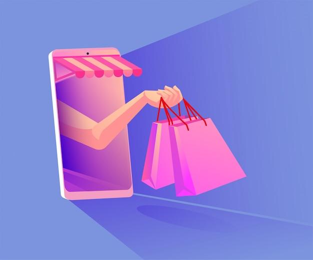 Интернет-магазины на иллюстрации мобильных приложений