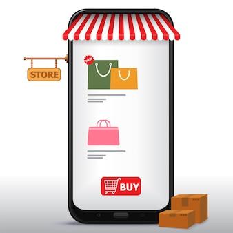 휴대 전화 및 응용 프로그램 그림에서 온라인 쇼핑. 전자 상거래 및 디지털 마케팅 개념.