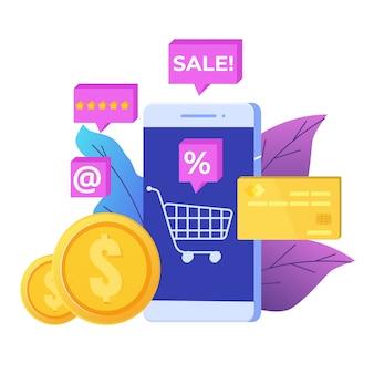 携帯電話のコンセプトのオンラインショッピング