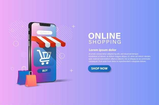 트롤리 및 쇼핑백 사진이있는 스마트 폰에서 온라인 쇼핑