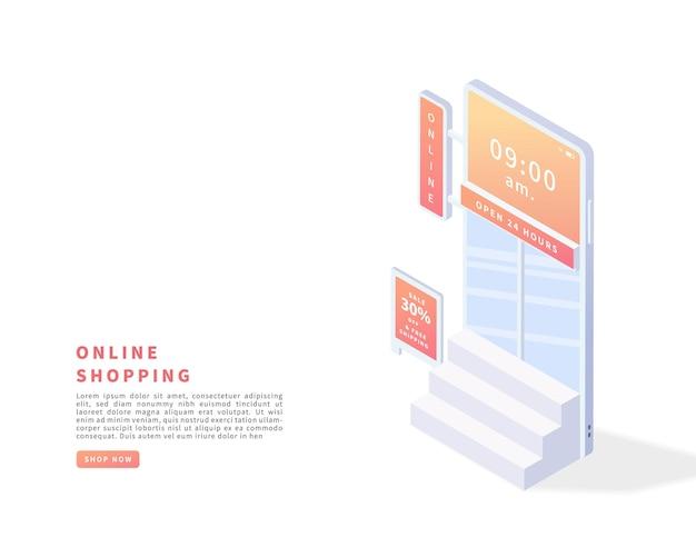 スマートフォンアプリケーションのデジタルマーケティングとビジネスコンセプトのオンラインショッピング