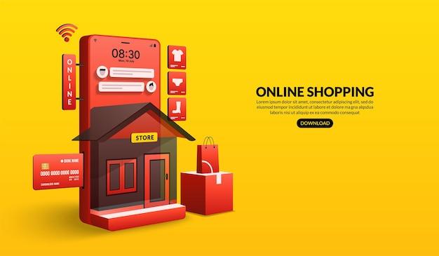 스마트 폰 디지털 마케팅 스토어 개념으로 웹 사이트 및 모바일 애플리케이션에서 온라인 쇼핑