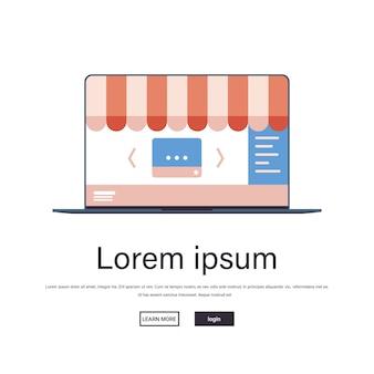 ウェブサイトでのオンラインショッピングアプリケーションインターネットビジネスeコマースデジタルマーケティングコンセプトノートパソコンの画面コピースペース