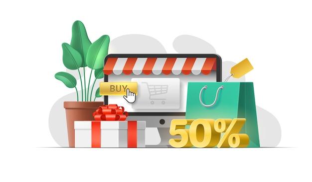 ウェブサイトでのオンラインショッピング、モバイルアプリのコンセプト。特別オファー50%割引。