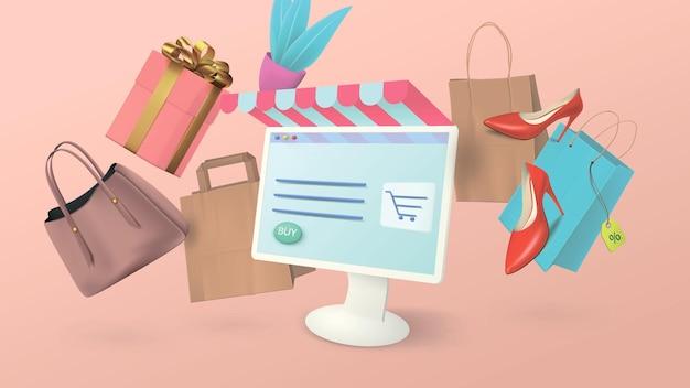 가정용 컴퓨터에서 온라인 쇼핑. 가방, 여성 신발 및 선물의 형태로 쇼핑 항목과 개념적 배너.