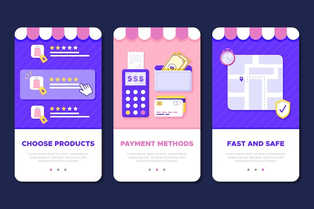 Online shopping onboarding app screens