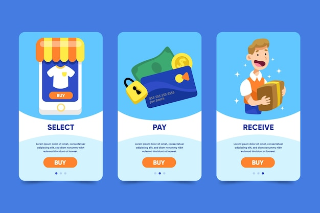 Online shopping onboarding app screens