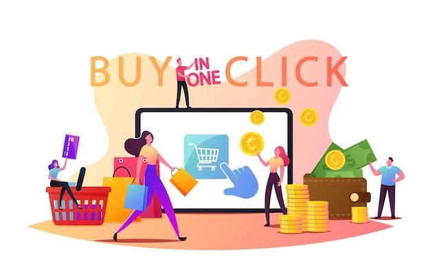 Концепция покупки в один клик онлайн. крошечные персонажи-клиенты с кредитной картой, покупающие товары на огромном экране гаджета. цифровой маркетинг, интернет-магазин. мультфильм люди векторные иллюстрации