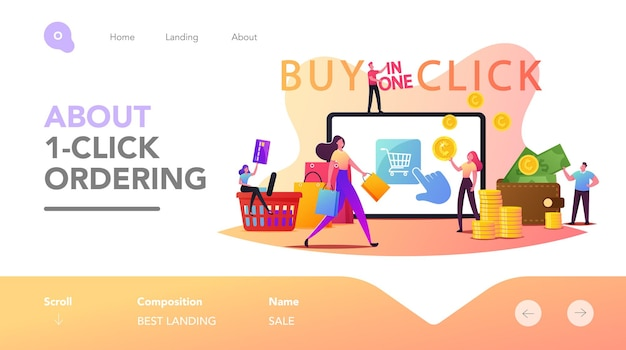 Online shopping one click purchase landing page template. tiny customer characters with credit card buying goods at huge gadget screen. digital internet business. cartoon people vector illustration