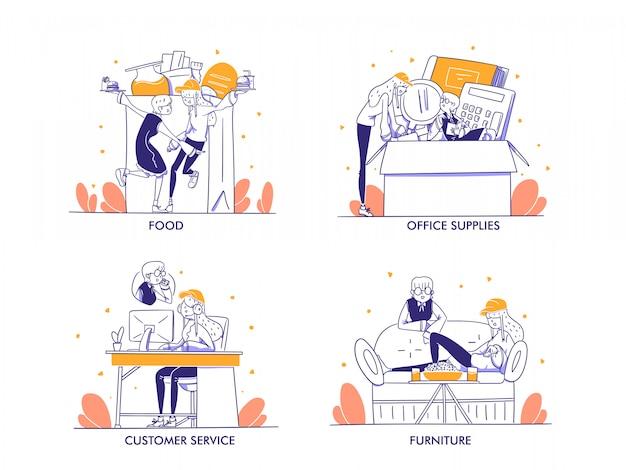 Интернет-магазины или концепция электронной коммерции в современном стиле рисованной дизайна. еда, напитки, еда, канцелярские товары, канцелярские товары, обслуживание клиентов, мебель, образ жизни, магазин, иллюстрация категории