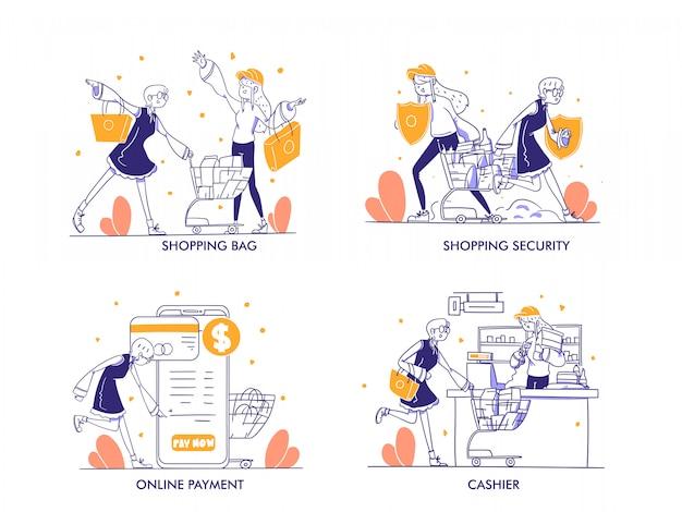 현대 손으로 그린 디자인 스타일의 온라인 쇼핑 또는 전자 상거래 개념. 쇼핑백, 카트, troli, 쇼핑 보안, 보호, 방패, 온라인 지불, 계산원, 상점, 상점, 카테고리 그림
