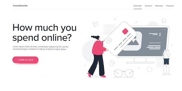 Интернет-магазины или электронная коммерция в плоской иллюстрации