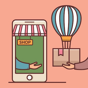 Online shopping order concept consumers receive a package box internet delivery via smartphone