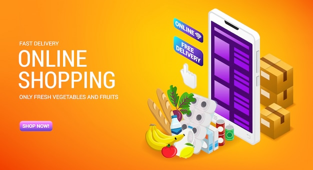 Online shopping, order delivery service, internet store landing page  with isometry cardboard boxes and cart,  illustration.