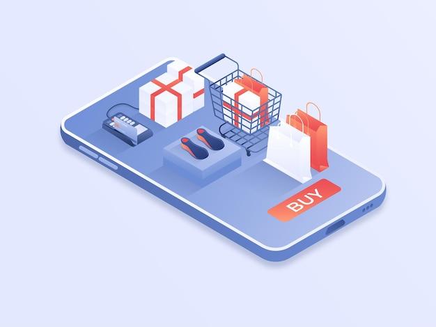 スマートフォンとカードを介したオンラインショッピングの注文3d等角ベクトル図