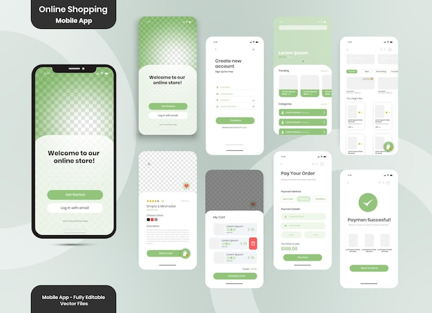 Online shopping order with payment or credit cards app ui kit for responsive mobile app with website menu