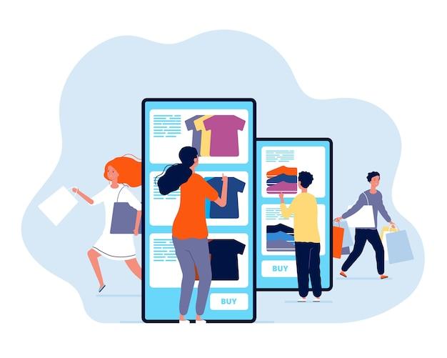 온라인 쇼핑. 웹 스토어 전자 상거래 스마트 폰 지불 개념에서 제품을 구매하는 사람들. 스마트 폰으로 쇼핑하는 일러스트레이션, 모바일 소비주의
