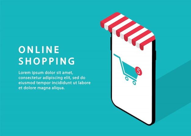 Online shopping in phone. online store. modern web pages for web sites.