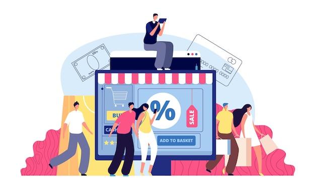 온라인 쇼핑. 전화 상점, 노트북에서 사는 사람.