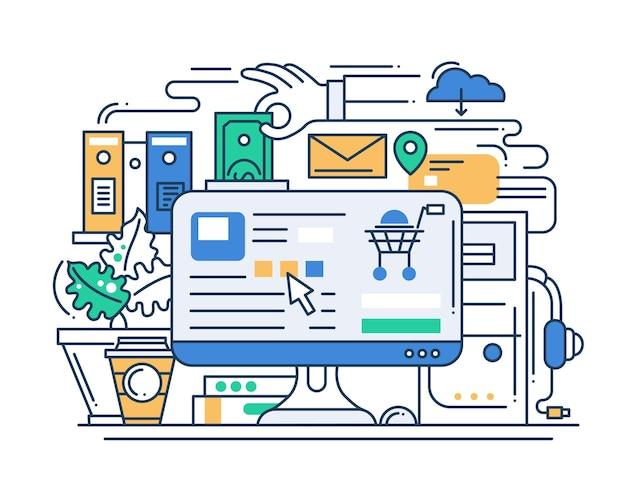 Online shopping process line flat design banner with desktop.