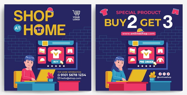 Online shopping promotion feed instagram template in modern design style